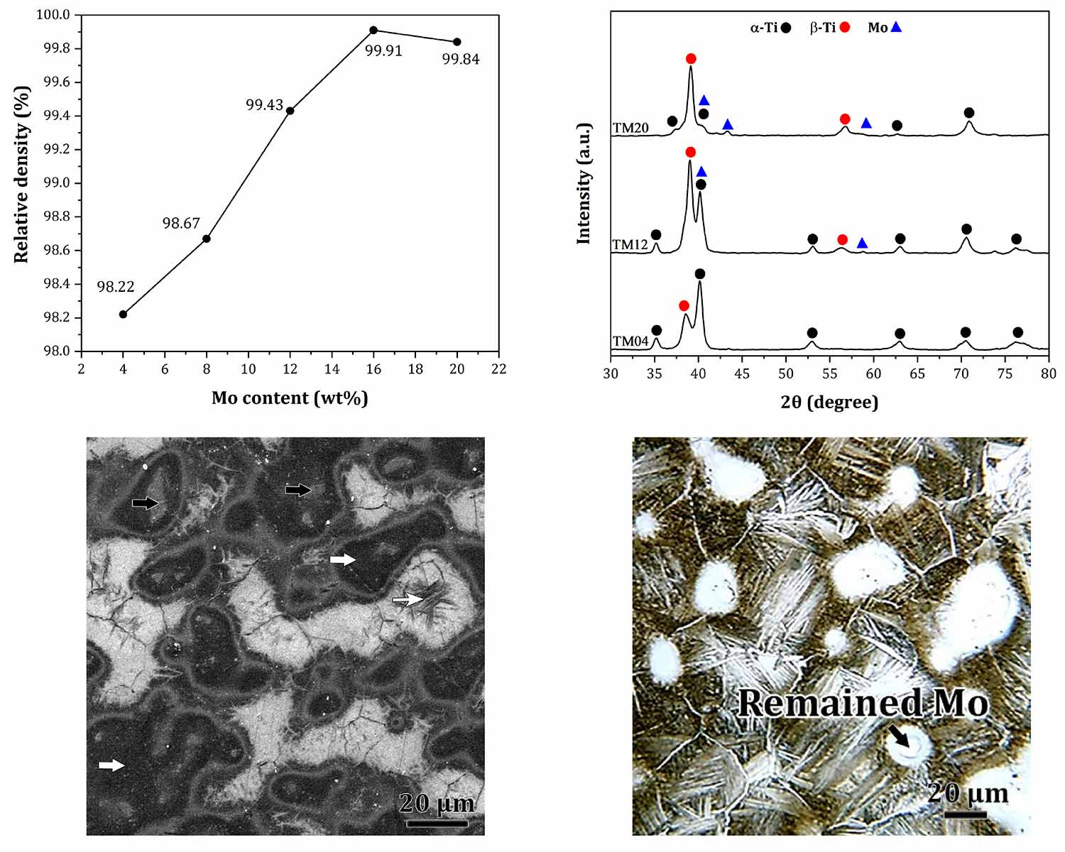 Influence of molybdenum content on the microstructure of spark plasma sintered titanium alloys